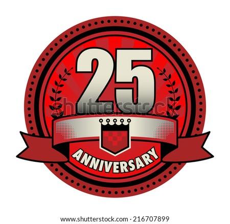 Label 25 anniversary, vector illustration - stock vector