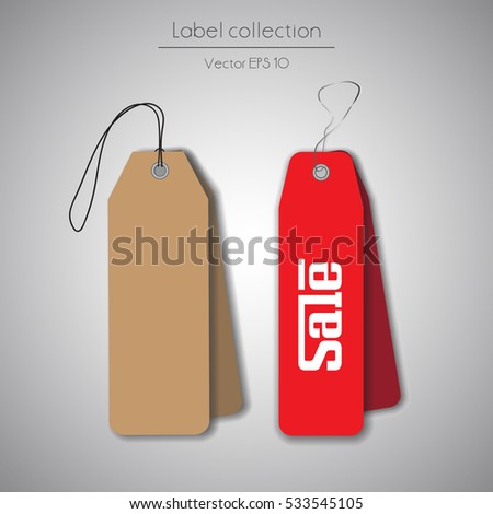Label cardboard and red hanging tag collection illustration on gray background