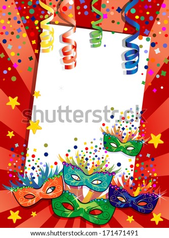 Label carnival masks ideal for parties with space to insert your own text  - stock vector