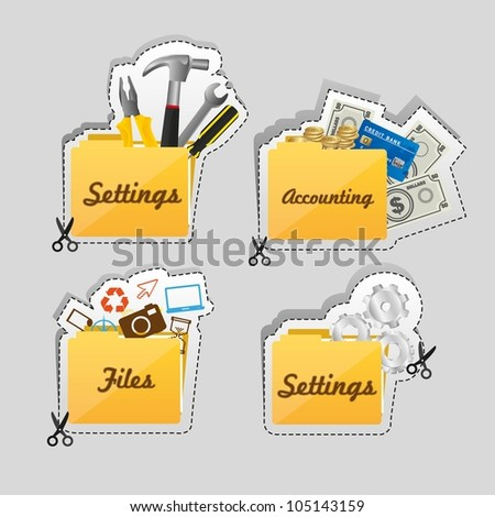 Label cutting lines of different types of icons, vector illustration - stock vector