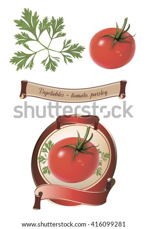 Label for a product (ketchup, sauce) with photo-realistic vector illustration of tomato. Isolated on white background. - stock vector