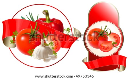 Label for a product (ketchup, sauce) with photo-realistic vector illustration of vegetables. - stock vector