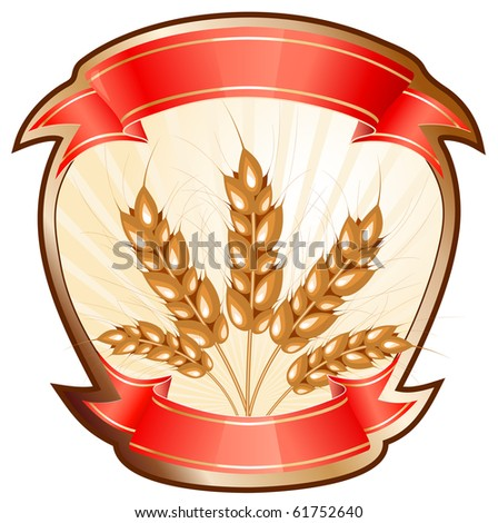 Label for a product with vector ears of wheat. - stock vector