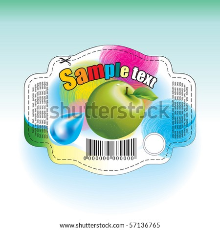 Label for apple's juice - stock vector