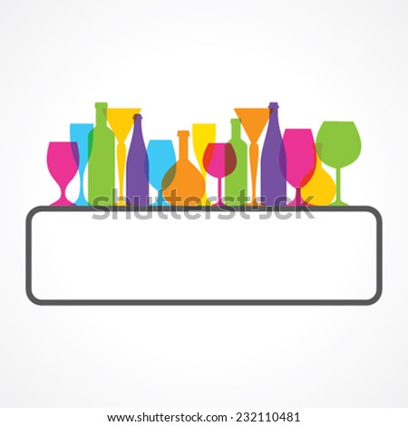 Label for restaurant  with wine glasses and bottle stock vector - stock vector
