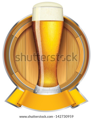 label for the beer with glass and barrel. also can be used as template logo - stock vector