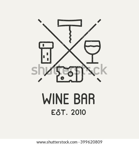 Label for wine, winery or store. Wine logo with cheese, corkscrew, glass and grape leaf. Vector logo. - stock vector