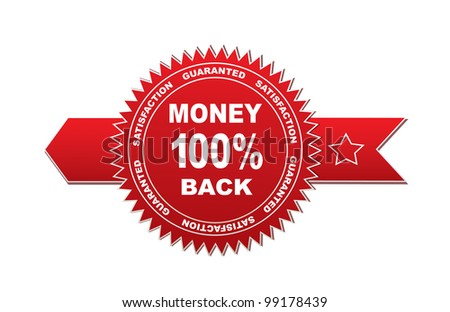 Label - guarantee 100% money back - stock vector