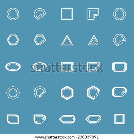 Label line icons on blue background, stock vector - stock vector