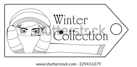 Label line winter collection - stock vector