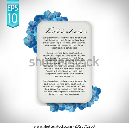 label on a bouquet of hydrangeas. Isolated On White Background. Vector Illustration.
