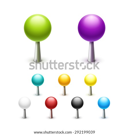 Label, point needle. Set of colored drawing pins with plastic head. With the ball on the end. View from above. Isolated on white background. - stock vector