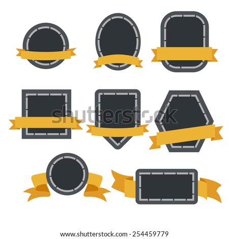 label ribbon icons - stock vector
