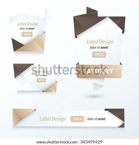 Label, Ribbon Origami, 2 color brown - stock vector
