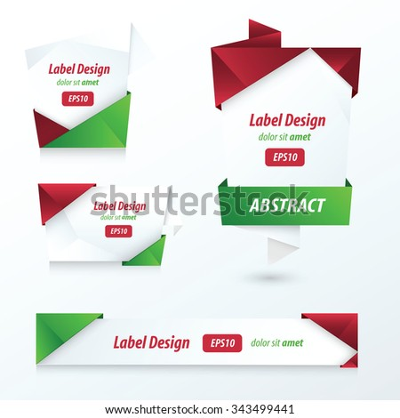 Label, Ribbon Origami, 2 color Christmas  - stock vector