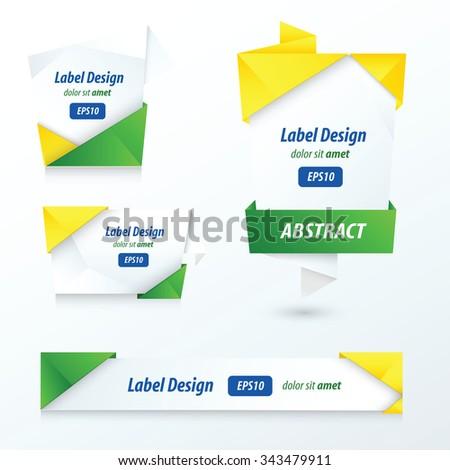 Label, Ribbon Origami Style, brazil Style - stock vector
