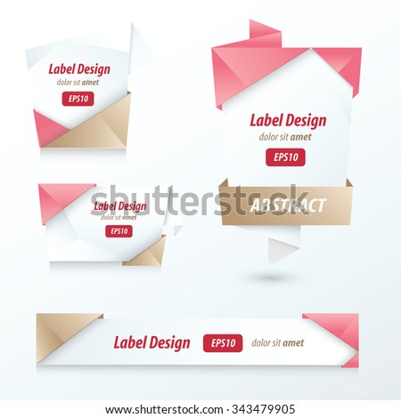 Label, Ribbon Origami Style, love style - stock vector