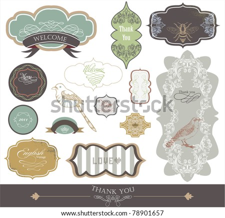 label scrap-booking sticker set -best card elements - stock vector