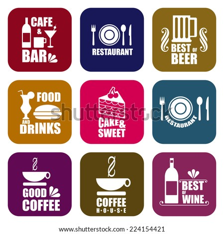 Label set icons and typography for restaurant, cafe and bar. - stock vector