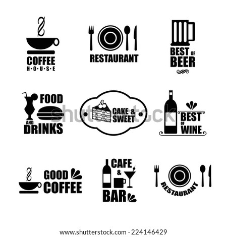 Label set icons for restaurant, cafe and bar - stock vector