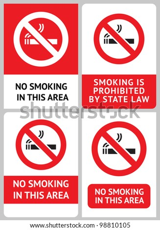 Label set No smoking - stock vector