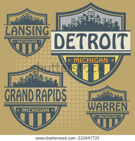 Label set with names of Michigan cities, vector illustration
