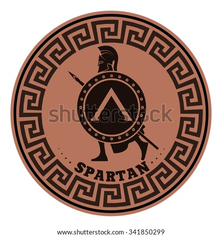 label silhouette of the Spartan soldier - stock vector