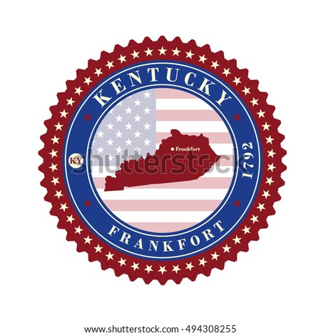 Label sticker cards of State Kentucky USA. Stylized badge with the name of the State, year of creation, the contour maps and the names abbreviations.