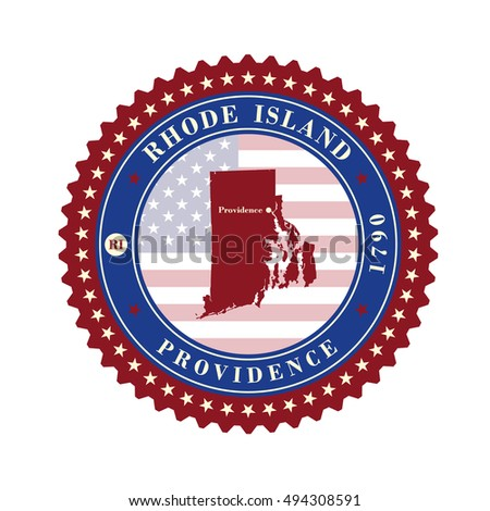 Label  sticker cards of State Rhode Island  USA. Stylized badge with the name of the State, year of creation, the contour maps and the names abbreviations.