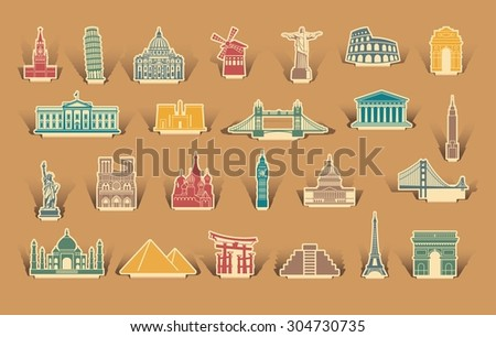 Label tourist attractions - stock vector