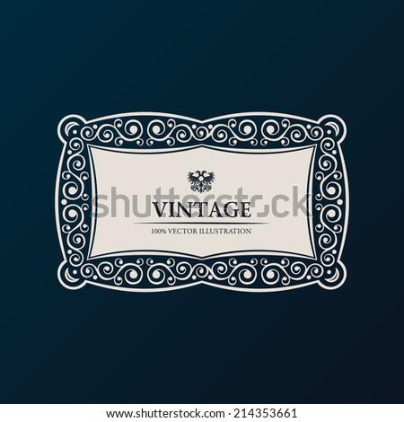 Label vector frame. Vintage banner decor ornament - stock vector