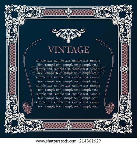 Label vector frame. Vintage tag decor medieval illustration - stock vector