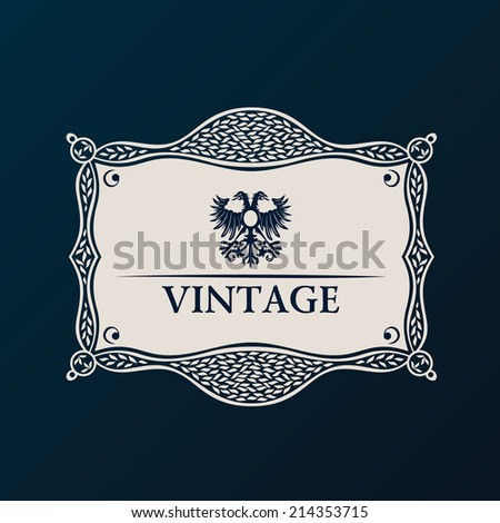Label vector framework. Vintage tag decor ornament - stock vector
