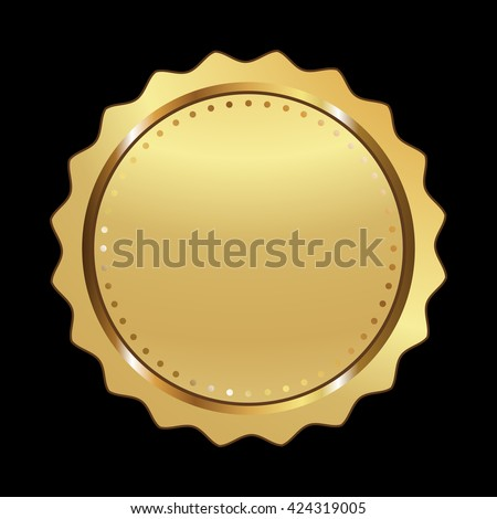 Label vector icon gold color on black background. Ribbon isolated shapes illustration of gift and accessory. Christmas sticker and decoration for app and web. Banner, badge and borders collection.