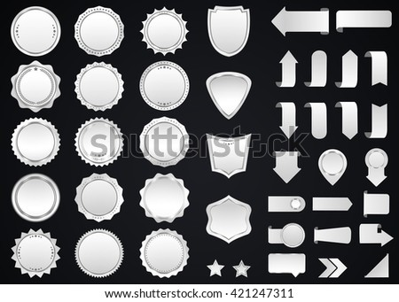 Label vector icon set silver color on black background. Ribbon isolated shapes illustration  gift and accessory. Christmas sticker and decoration for app and web. Banner, badge and borders collection. - stock vector