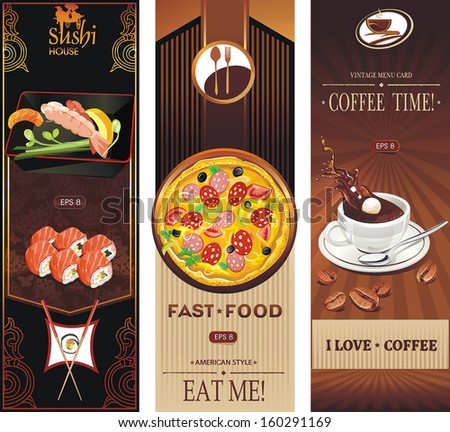 Label vector with coffee cup, pizza, ice cream and sushi. Vector illustration - stock vector