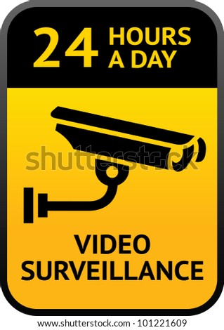 Label video surveillance sign - stock vector