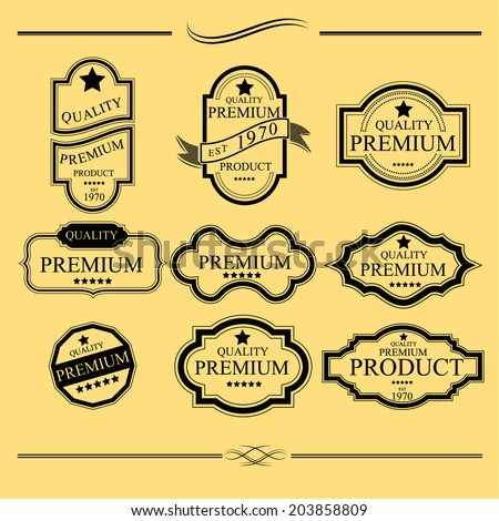 Label Vintage With Premium Quality Collection - stock vector