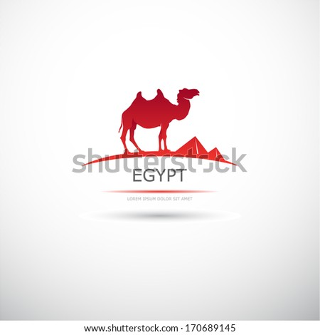 Label with a camel. Egypt. Vector. - stock vector