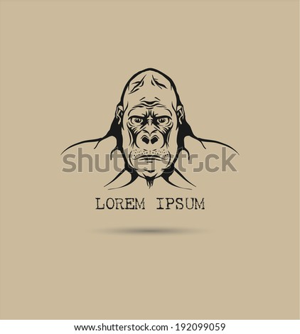 Label with a gorilla. Vector illustration. - stock vector