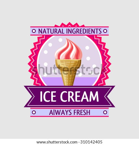 Label with a ice cream icon in the frame with the ribbon. Vector design. - stock vector