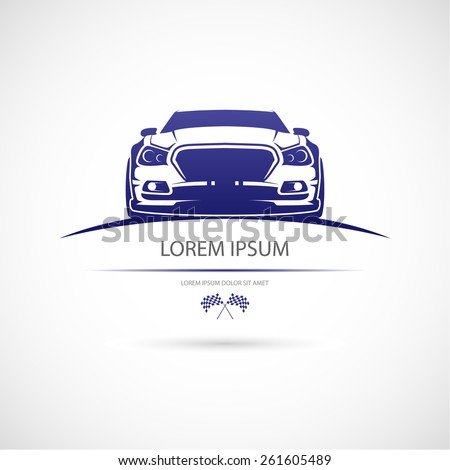 Label with a picture of a racing car. Vector. - stock vector