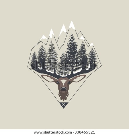 label with a picture of mountains, deer and forest - stock vector
