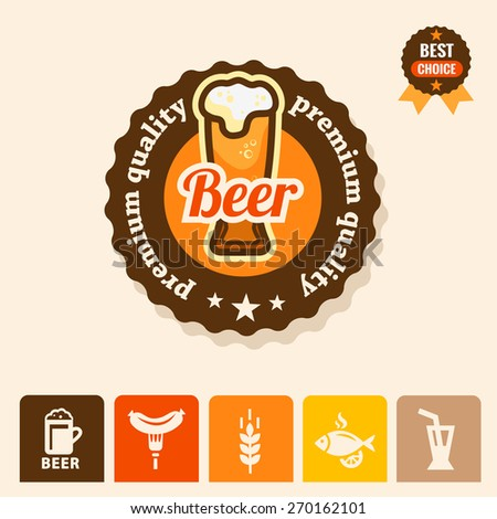 Label with beer mugs and the text Beer written inside, vector illustration. - stock vector