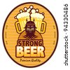 Label with beer mugs and the text Strong Beer written inside, vector illustration - stock vector