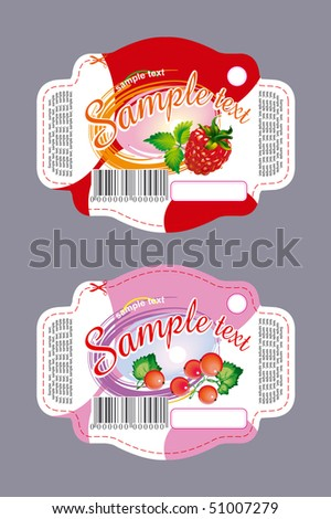 Label with berries for cookies - stock vector