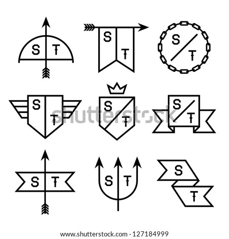 label with chain, shield, arrow, trident - stock vector