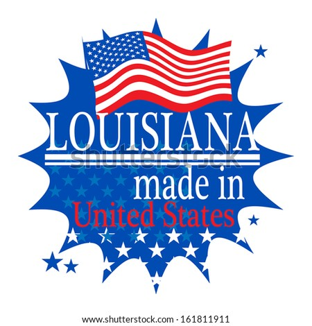 Label with flag and text Made in Louisiana, vector illustration - stock vector