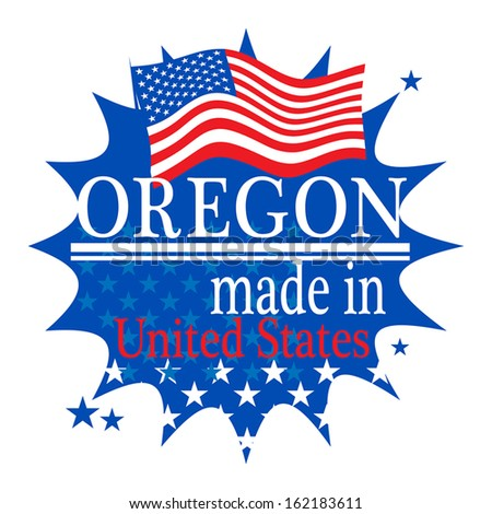 Label with flag and text Made in Oregon, vector illustration - stock vector