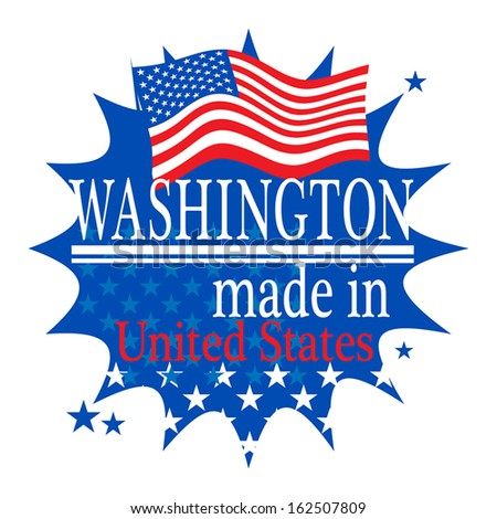 Label with flag and text Made in Washington, vector illustration - stock vector